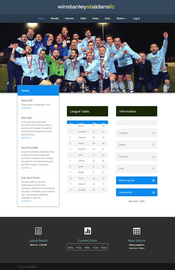 Wordpress Design: Example site Winstanley St. Aidans Football Club Website